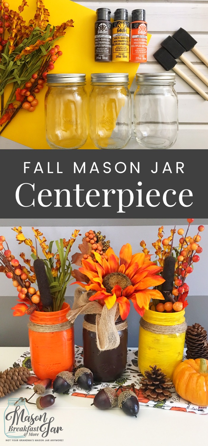What are your favorite Mason jar craft ideas for fall décor? Let this beautiful fall Mason jar centerpiece inspire you. Simply paint three Mason jars with vibrant fall colors, add twine and fall flowers to create this stunning DIY fall décor.