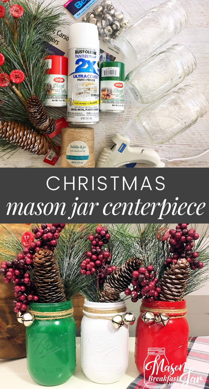 Mason Jar Christmas Pinecones Decor