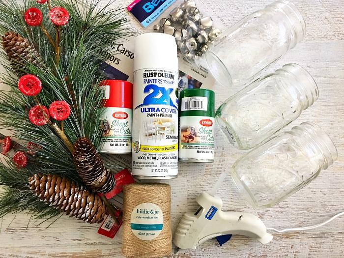Materials for Christmas Mason jar ideas
