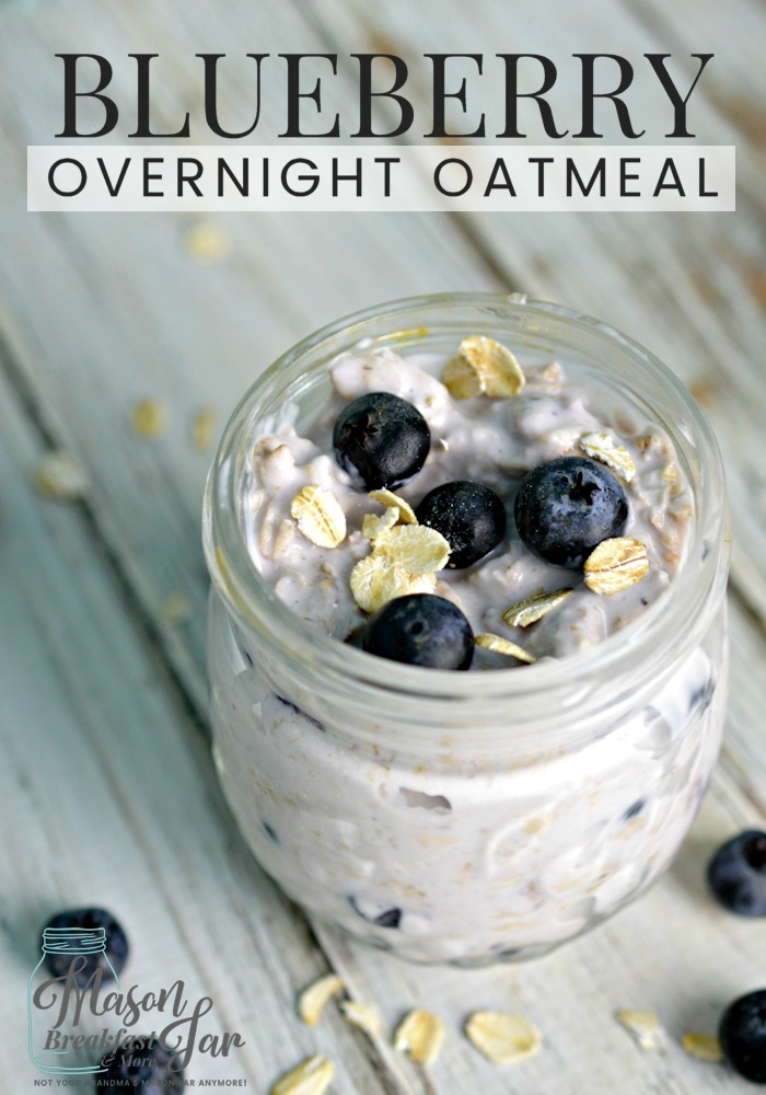Do you think your morning routine is too hectic to have a healthy and delicious breakfast? Think again! If you can take about fifteen minutes the night before to whip up this Blueberry Overnight Oatmeal in a Jar recipe you can have a nutritious breakfast waiting for you in the morning. So, go ahead and grab your Mason jar and these five ingredients (oats, milk, yogurt, fresh fruit, and maple syrup) and get started on a healthier routine today. #oatmeal #overnightoatmeal #masonjarrecipe #masonjarbreakfast #masonjar #blueberry #breakfast