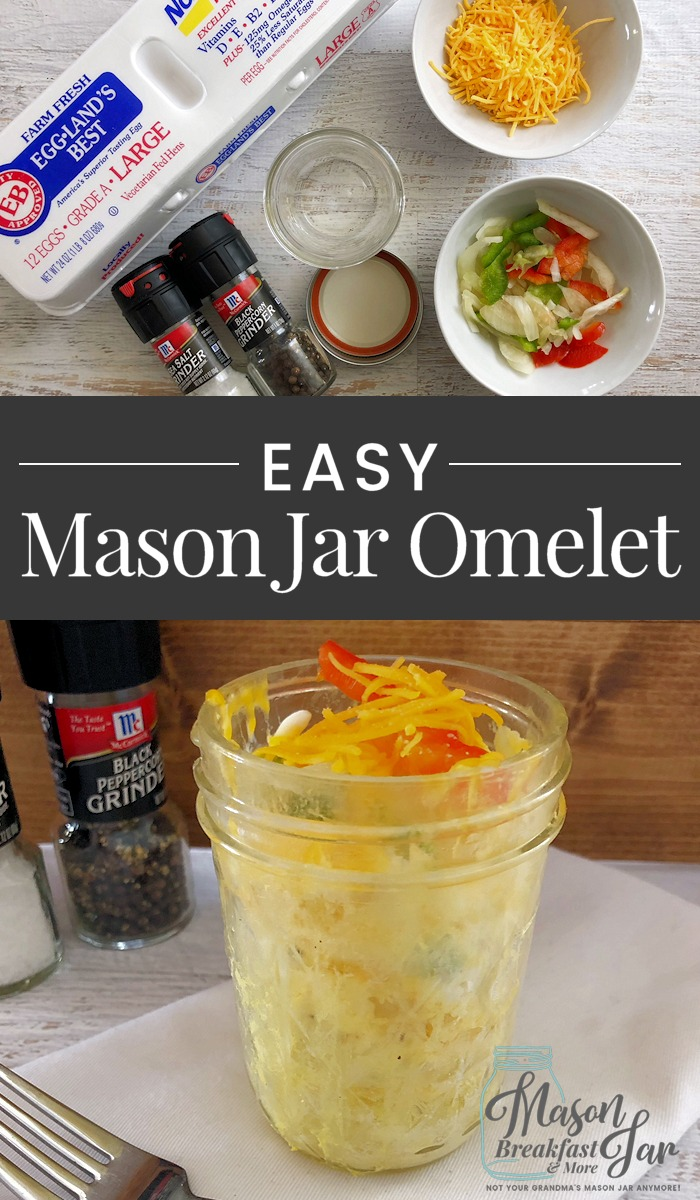 No time for a hot breakfast? Think again! If you have a few minutes, then you can whip up this delicious and healthy Mason jar breakfast recipe for an easy Omelet in a Jar. Give it a try today! #masonjarideas #masonjarmeals #masonjarrecipes #masonjarbreakfast