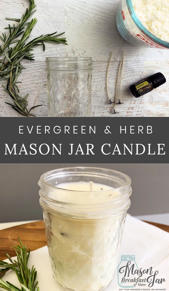 This beautifully scented Mason jar candle is an easy way to freshen your home and add pretty decor. You need just a handful of ingredients to make this incredibly fragrant soy Mason jar candle. Simply grab fresh sprigs (if you have them from your garden that's great), soy wax flakes, a couple of essential oils and a wax coated candle wick. That's it! These DIY scented Mason jar candles make great homemade gift ideas too. #candlemaking #masonjarcrafts #masonjarideas #masonjargifts