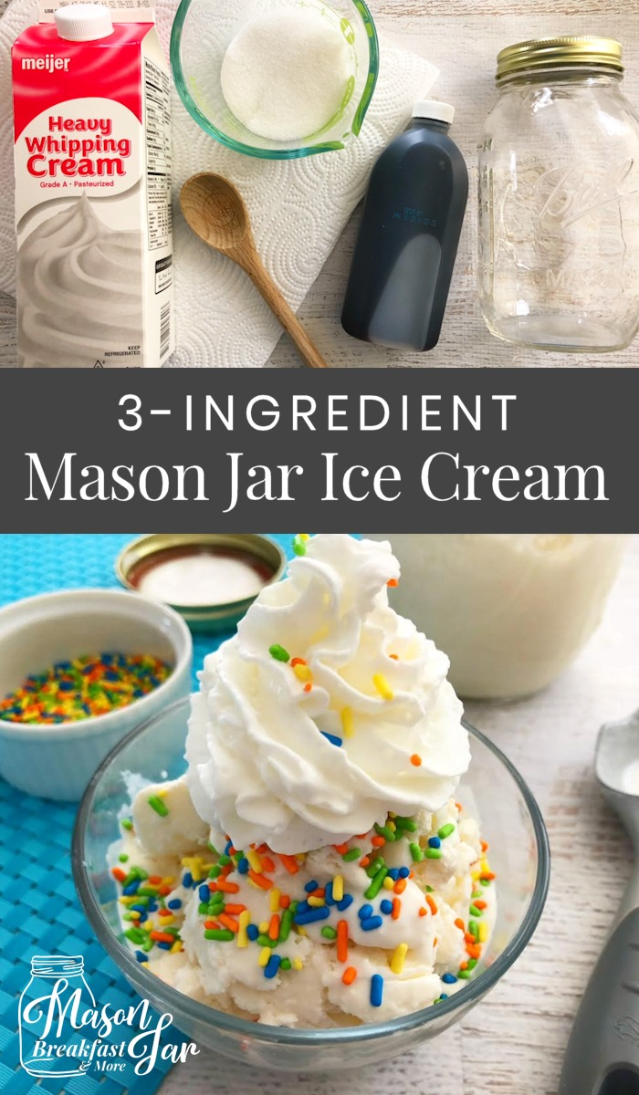 Have you ever tried Mason jar ice cream? If you haven't indulged in this summer treat you are missing out. This Mason jar idea requires only three ingredients which you likely already have in your kitchen (heavy whipping cream, sugar and vanilla extract). Be sure to get the kids involved to help with the shaking! 😉 #masonjarideas #masonjarrecipes #icecream #icecreamrecipes