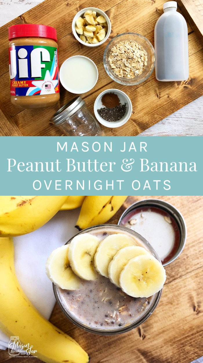 Do you need a quick, easy and delicious breakfast that you can grab and take on the go? This Mason Jar Peanut Butter & Banana Overnight Oats recipe can be whipped up the night before with just a handful of ingredients. This healthy overnight oats in a jar recipe will give you a hearty dose of energy to help you power through your day. #overnightoats #overnightoatsrecipe #overnightoatsinajar #overnightoatshealthy