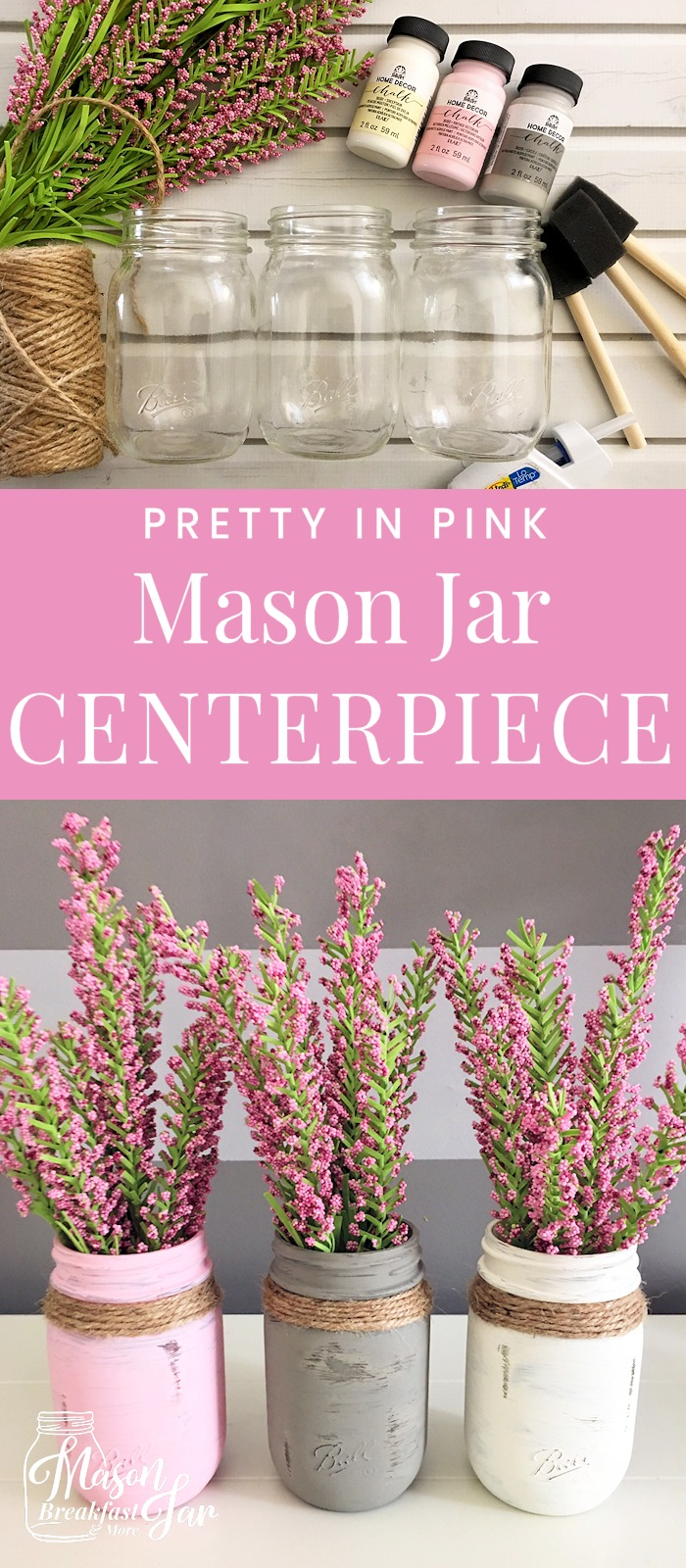Pink Mason Jar Centerpieces For Weddings Or Your Home