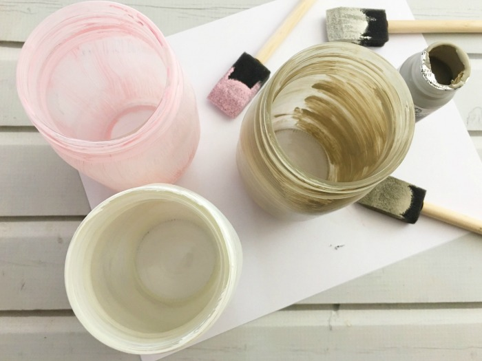paint jars for Mason jar centerpieces for weddings