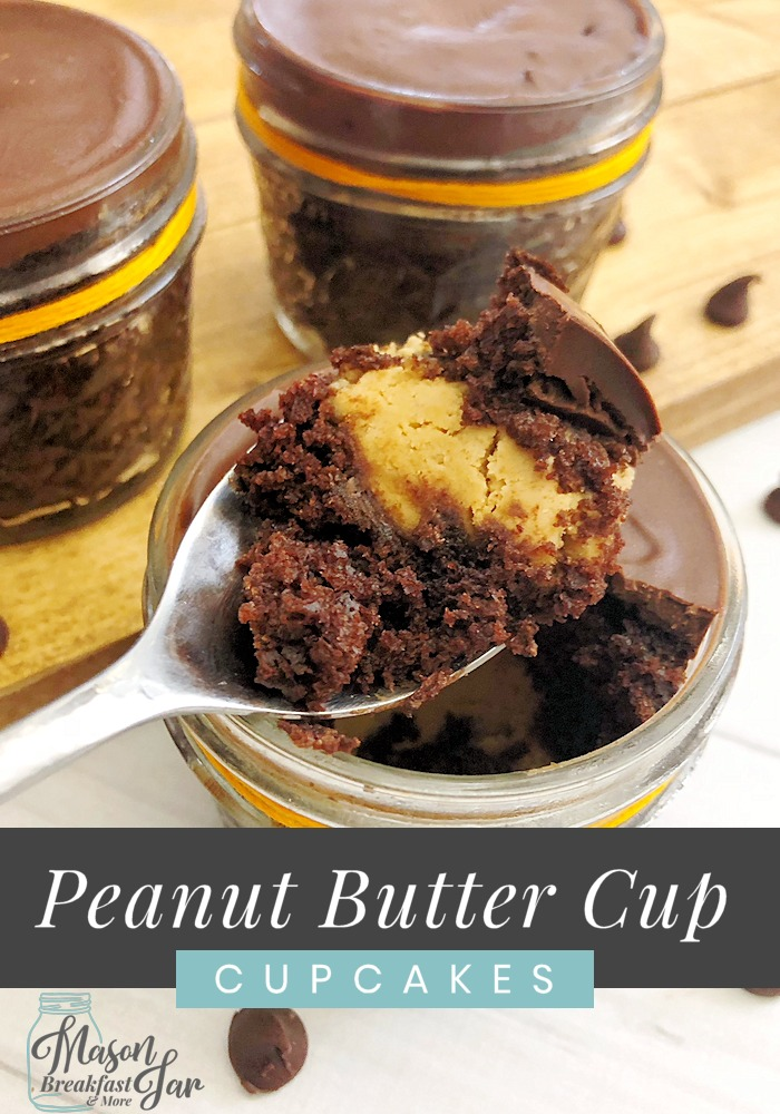 Calling all chocolate and peanut butter lovers! If you like the taste of Reese's Peanut Butter Cups, then you are going to love this recipe. Here you'll find out how easy it is to make Peanut Butter Cup Cupcakes in your Mason jars. #peanutbuttercupcakes #peanutbuttercupcakeseasy #peanutbuttercupcakesrecipes #peanutbuttercupcakesreeses
