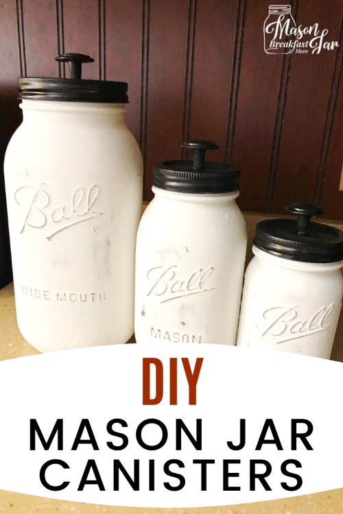 Don't toss your Mason jars! Use them to add decorative organization to your counterspace. Whether you need organizing ideas for your kitchen, bathroom, or another room in your home, these DIY Mason Jar Canisters would be perfect! Have fun customizing these Mason jar crafts to fit your home's decor. #masonjarcrafts #diymasonjarcanisters #masonjarideas #organization #organizingideas