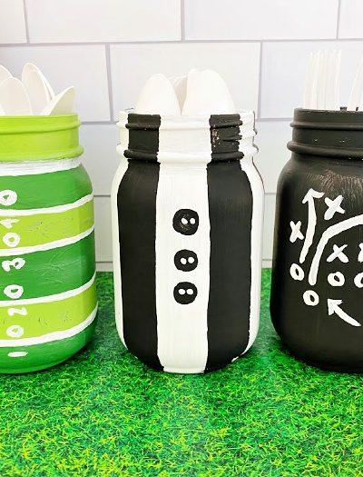 DIY Mason jar crafts football centerpieces