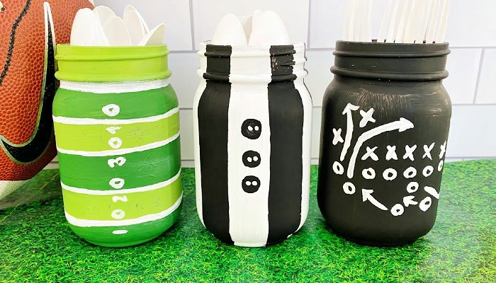 DIY Mason jar crafts football centerpieces