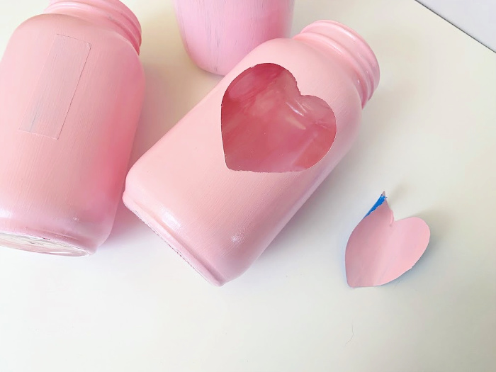 peel stickers off DIY Valentine gifts