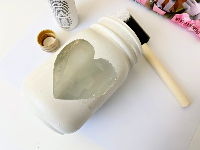 remove sticker from Valentine's Day Mason jars