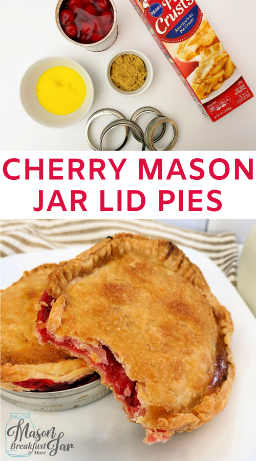 Are you craving a sweet treat but don't want to ruin your diet? No problem! Whip up a batch of these personal size Cherry Mason Jar Lid Pies to satisfy your sweet tooth. With the help of refrigerated pie crusts, you can have this Mason jar dessert ready to eat in about 30 minutes. Give this Mason jar recipe a try! #masonjarlidpies #masonjardiy #masonjardesserts #masonjarrecipes