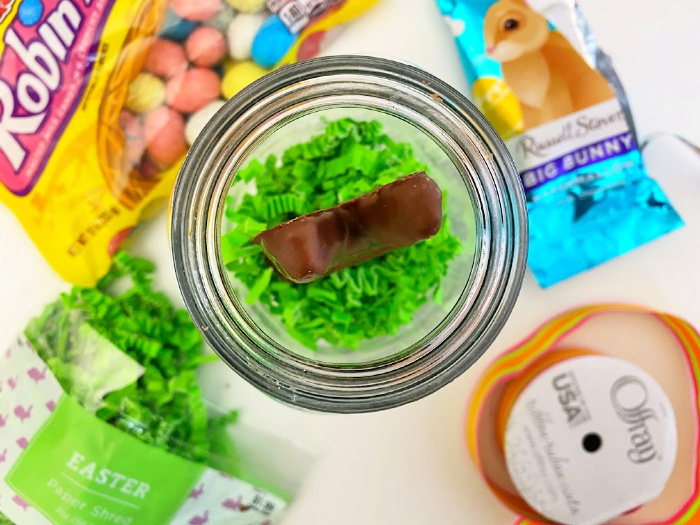 add chocolate bunny for Mason jar gifts for friends